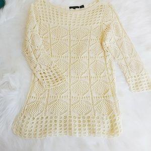 Jeanne Pierre Light Yellow Crochet Top